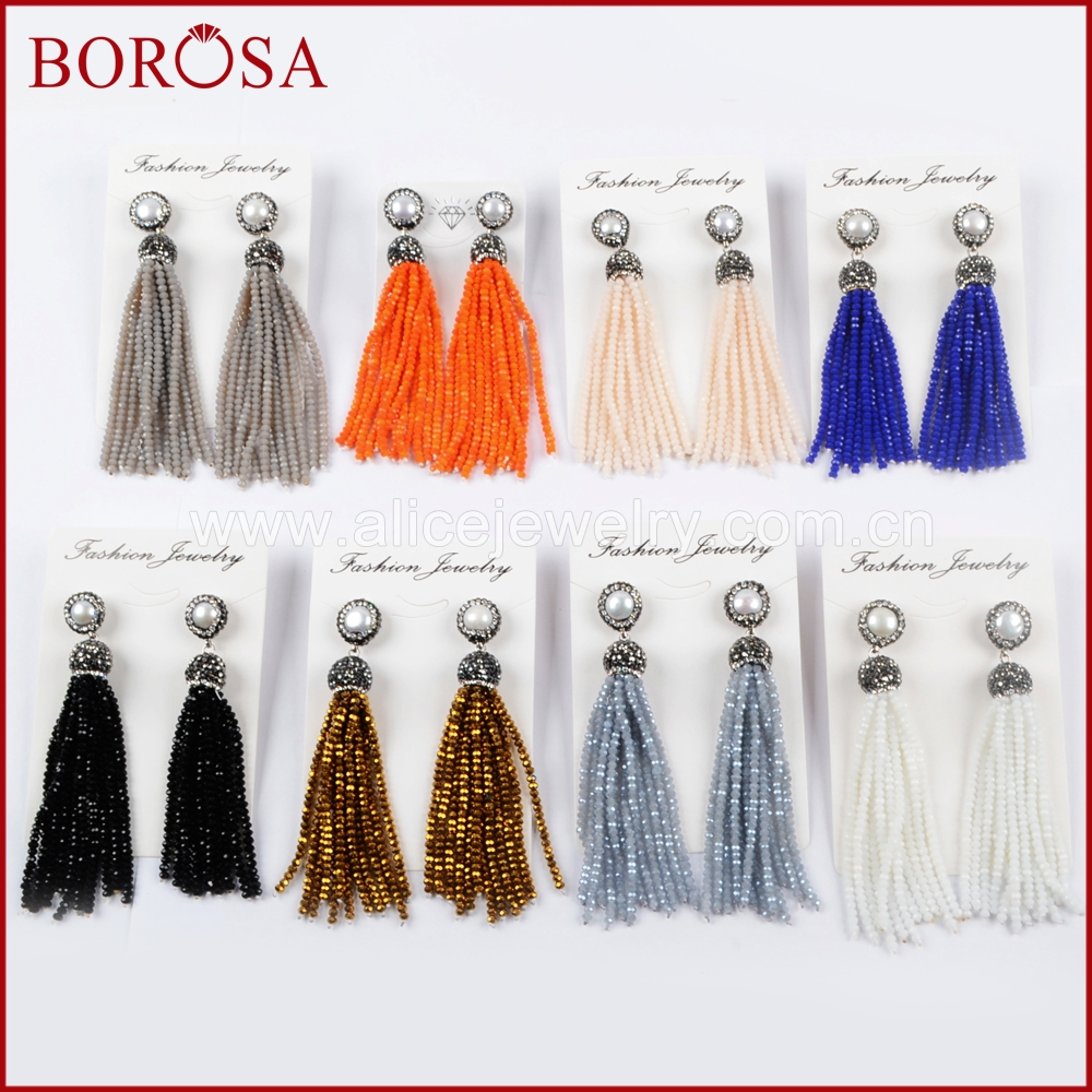 BOROSA 5Pairs Pearl Pave Rhinestone With Rainbow Tassel Beads Drop Earrings Druzy Charm Dangle Earrings for Women Jewelry JAB845