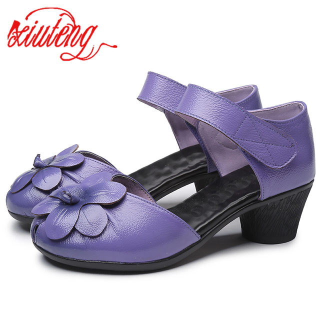 Xiuteng 2020 di Nuovo Modo di Estate Femminile Sandali Fatti A Mano Fiori di Scarpe di Cuoio delle Donne Casual di Spessore Con Sandali Delle Donne Cinghia Posteriore