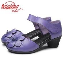 Xiuteng 2020 חדש אופנה קיץ נשי בעבודת יד סנדלי פרחי נשים של עור נעליים מזדמן עבה עם נשים סנדלי חזרה רצועה