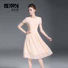 GYALWANA New style,short sleeve,round collar,collect the waist champagne chiffon dress.Temperament office lady and party dresses