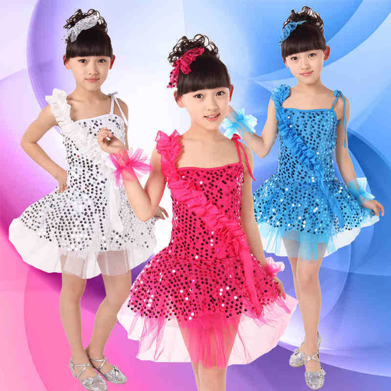 Free shipping child costume girls paillette modern dance infant clothes stage dance performance dress wear JQ-205