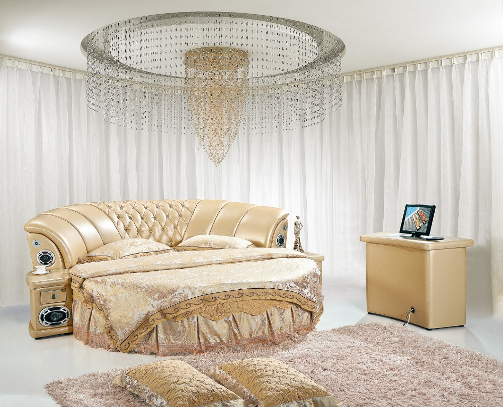 The modern design of the soft leather bed / gold / large double bedroom  furniture, modern style round bed room-in Beds from Furniture on  Aliexpress.com ...
