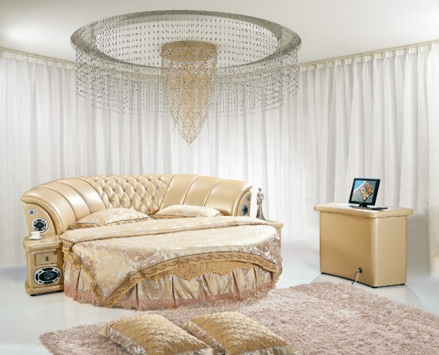 The modern design of the soft leather bed / gold / large double bedroom  furniture,