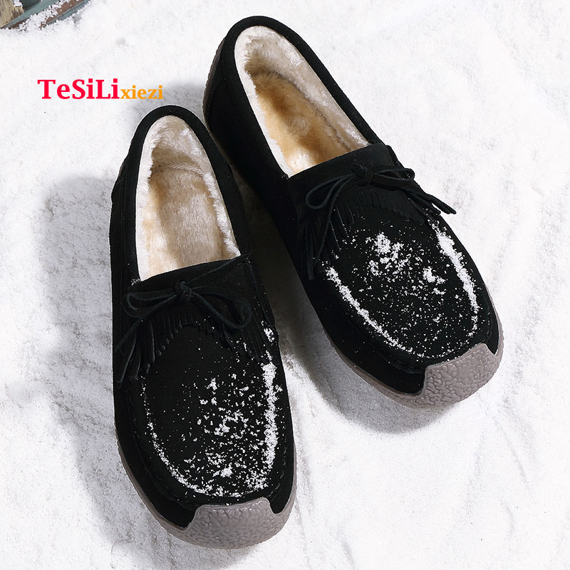 2018 Winter Women Flats   Leather     Suede   Slip On Loafers Shoes Ballet Shoes Laides Boat Shoes Oxford Shoes Ladies Zapatos De Mujer