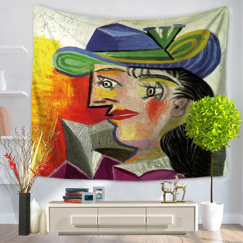Picasso Clown Tapestry Beautiful architectural landscape Mysterious castle Wall Tapestry Wall Art frescoes