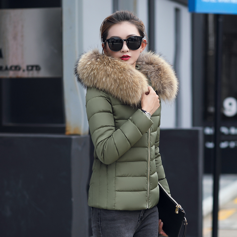 Plus Size 3XL 4XL Female Coat Autumn With Fur Collar Hooded Cotton Padded Winter Jacket Women Short Outwear Basic Jacket  3
