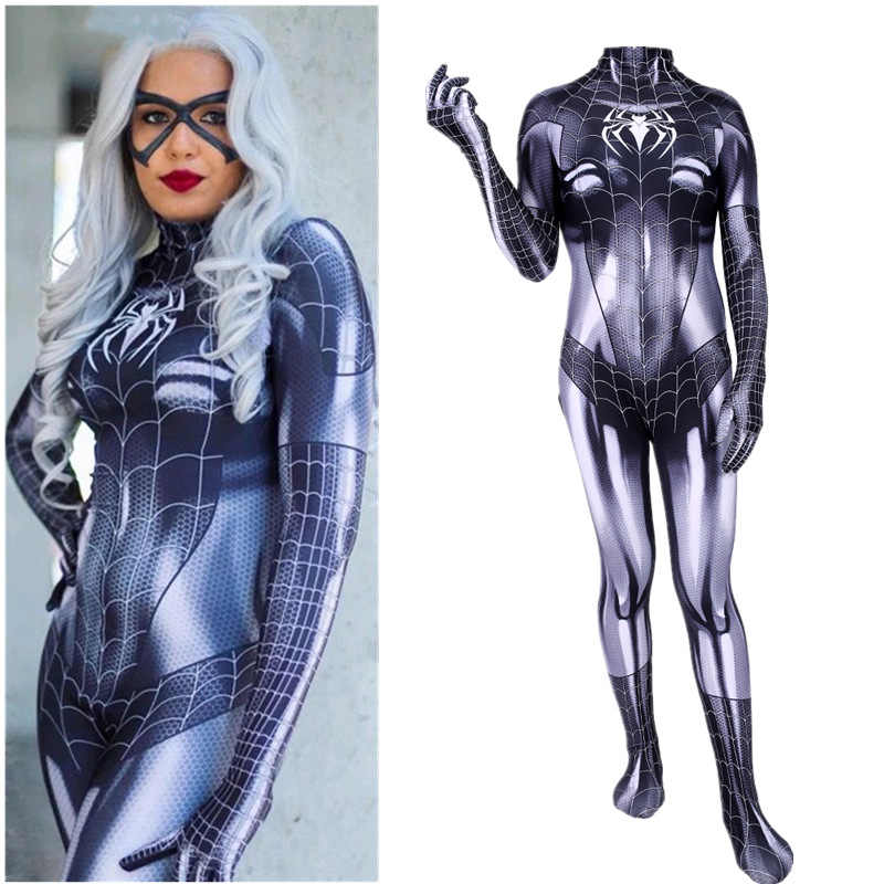 Newest Black Cat Symbiote Female Costume Spidey Cosplay Halloween Spider-man Superhero Costumes For Adult/Kids Free Shipping