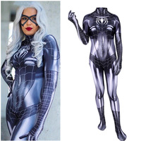 Newest Black Cat Symbiote Female Costume Spidey Cosplay Halloween Spider man Superhero Costumes For Adult/Kids Free Shipping