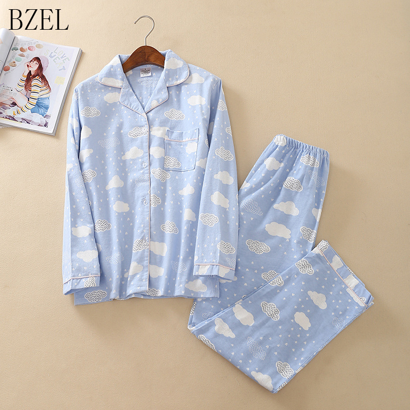 BZEL   Pajamas     Sets   Spring Autumn Blue Cloud Women Long Sleeve Sleepwear Suit Home Women Gift Female Homewear Pijama Mujer Femme
