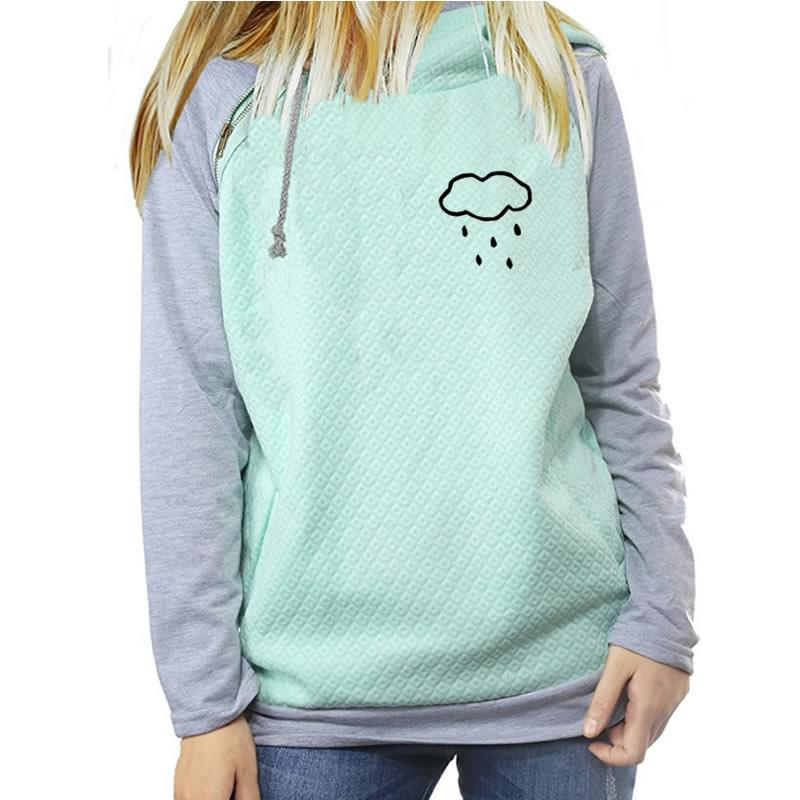 2018 New Fashion  Cloud Rain Print Sweatshirt Femmes Hoodies Women Tops Youth Cotton Pattern Corduroy Buckle Plus Size