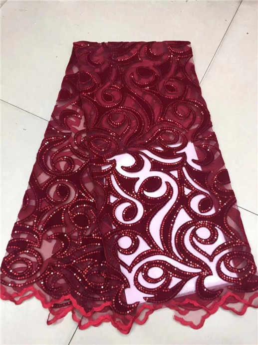 Laço da fita de alta qualidade veludo africano francês laço líquido com lantejoulas bordado swiss voile casamento tule tecido renda verde