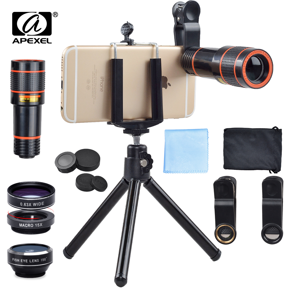 Apexel 12X Zoom Telephoto Telescope With 3 in 1 Lens Tripod Fisheye Wide Angle Macro Phone Lens For iPhone Sumsung xiaomi RedmiMobile Phone Lens   -
