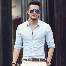 מזדמן הוואי חולצות גברים כותנה פשתן מעצב מותג Slim Fit חולצות גבר ארוך שרוול לבן חולצות לגברים בגדי אביב s1098