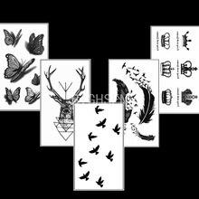 Hot 5 Pcs/Set Tattoo Body Art Removable Waterproof Temporary Tattoo Stickers Tatto Flash Tattoos Lot For Women WTAoo11