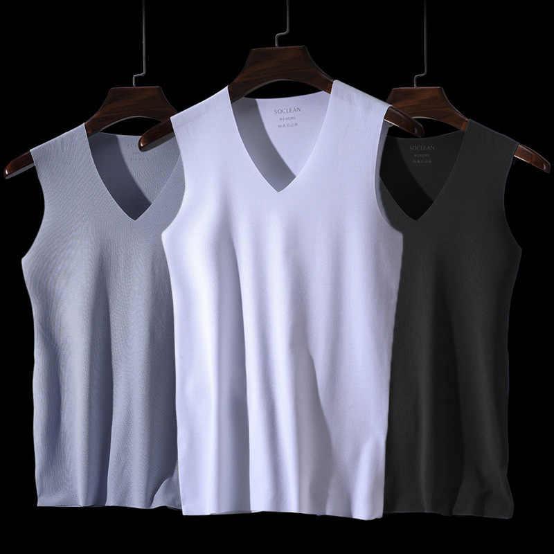 Ice soie Hommes Summer Solid arylsilane T-Shirt col V Sleepwear Nightwear Tops Hot