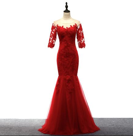 Wedding guest   dress   new lace SCOP neck half sleeve red sexy mermaid   bridesmaid     dress   long robe demoiselle d'honneur