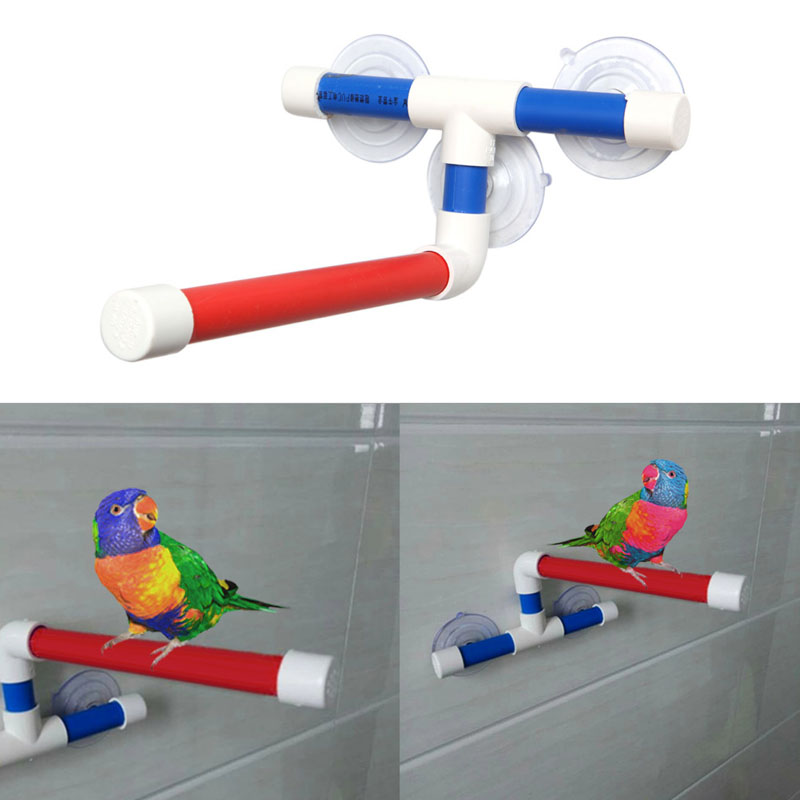 Pet Parrot Bath Shower Perches Standing Platform Rack Wall Suction Cup Bird Toys