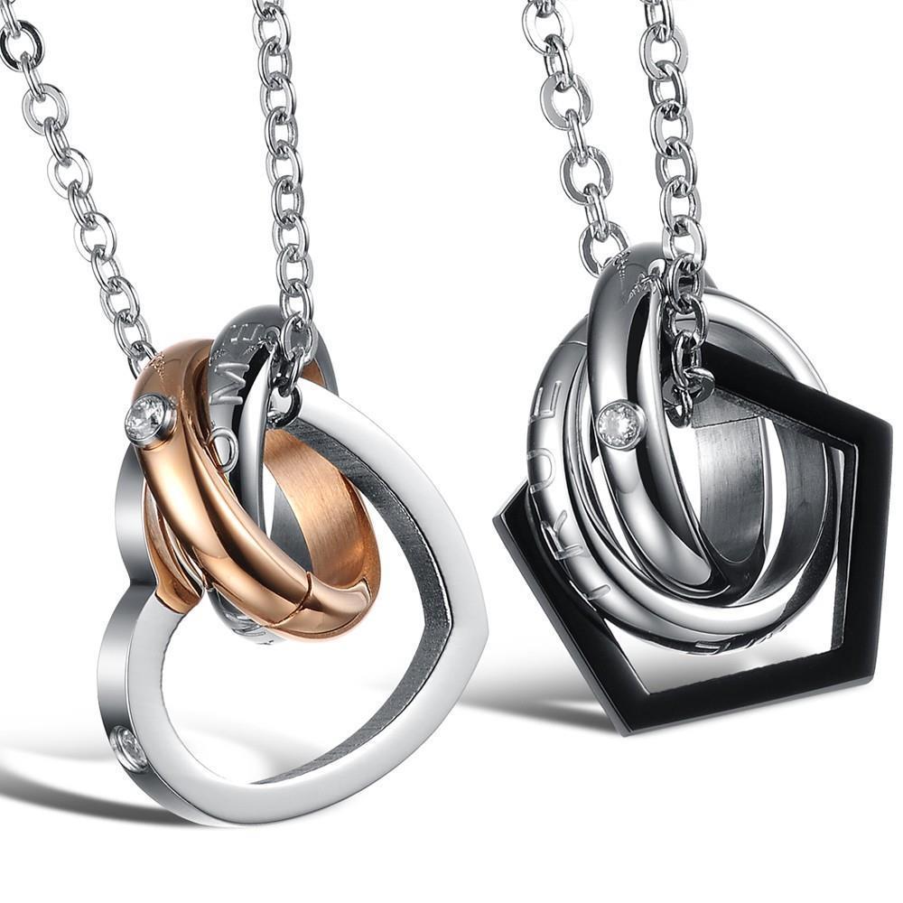 Korean Couple Necklace Titanium Necklaces Pendants Cute ...