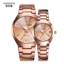 Couple Watch Men and Women Rose Gold Quartz Watch Classic Unisex Stainless Steel Lover's Wrist Watches Christmas Valentine Gifts(China)