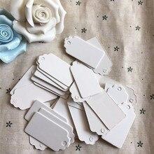 100 sztuk papierowe etykiety do prezentów karta biała muszelka festiwal dekoracje ślubne puste Mini etykieta bagażowa 2*4cm