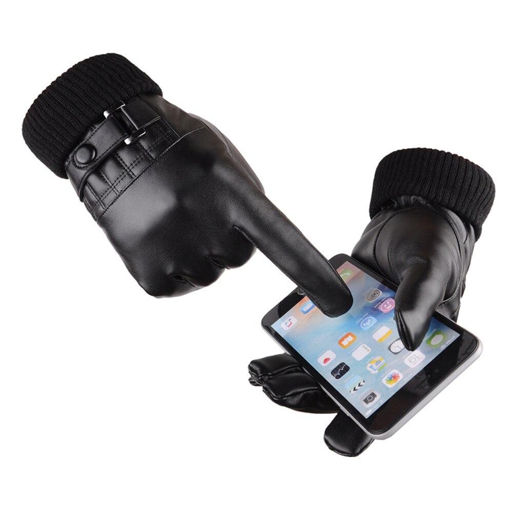 Mens velvet gloves - Luxury Men Fashion High Quality Winter Warm Super Driving Leather Mittens Male Full Finger Leather Plus Velvet Gloves Oct27
