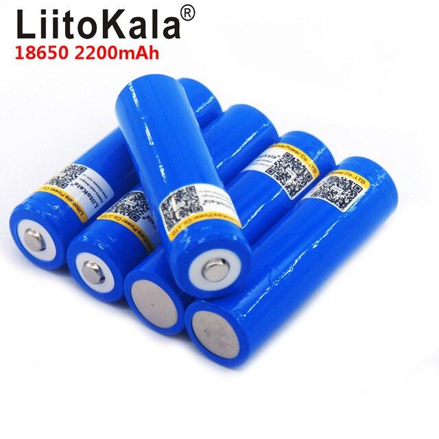 LiitoKala بطارية قابلة لإعادة الشحن 18650 ، 3.7 فولت ، 2200 مللي أمبير ، 18650 ، للسيارة ، الألعاب ، المصباح اليدوي