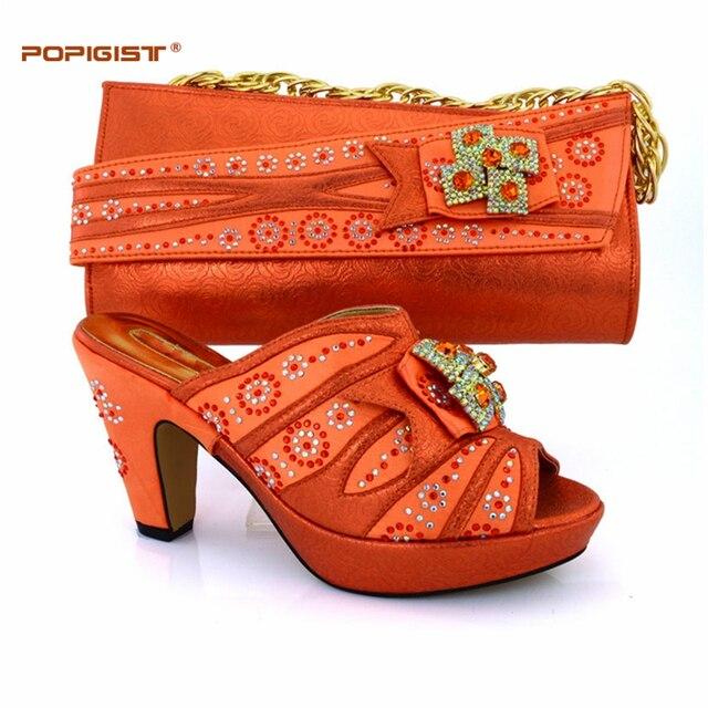 d2d22e6ea3ff26 Belle fille orange couleur Italien femmes de chaussures et sac ensemble  nouveau design Africain chaussures et