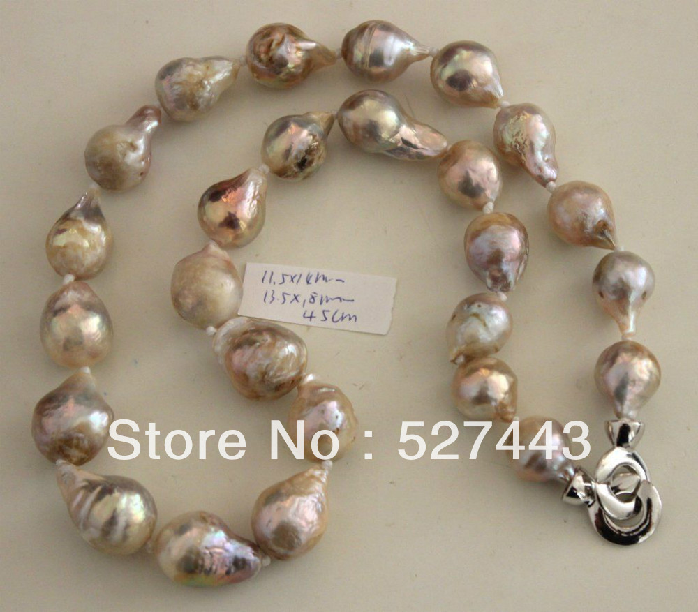 Gros livraison gratuite>> couleur naturelle 18 MM KASUMI collier de perles 45 CMGros livraison gratuite>> couleur naturelle 18 MM KASUMI collier de perles 45 CM