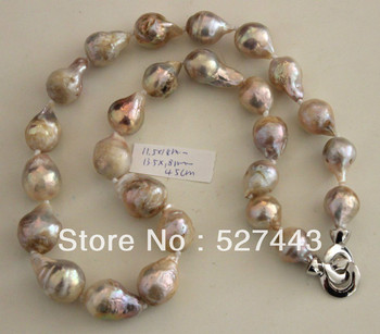 Wholesale free shipping >>NATURAL COLOR 18MM KASUMI PEARL NECKLACE 45CM