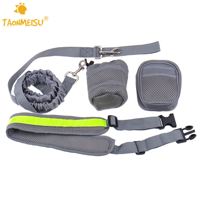 2 Colors Pet Dog Running Elastic Waist Strap Traction Rope With Water Bottle Holder+Dog Treats Bag