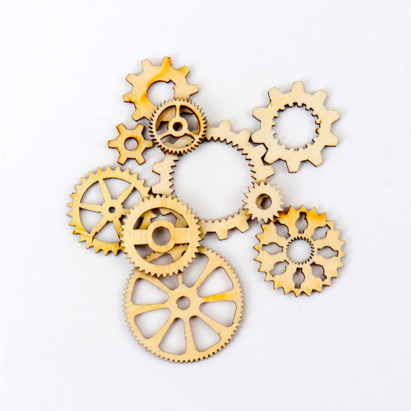 Mixed Wheel Gear Pattern Natrual Wooden Scrapbooking Hollow Craft Round Random For Handmade Home Decoration 10-40mm 20pcs MZ141