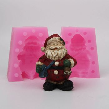 WD006  Silicone mold 3D Xmas Santa Claus furnishing articles diy Resin clay plaster decoration craft mould fondant cake tool