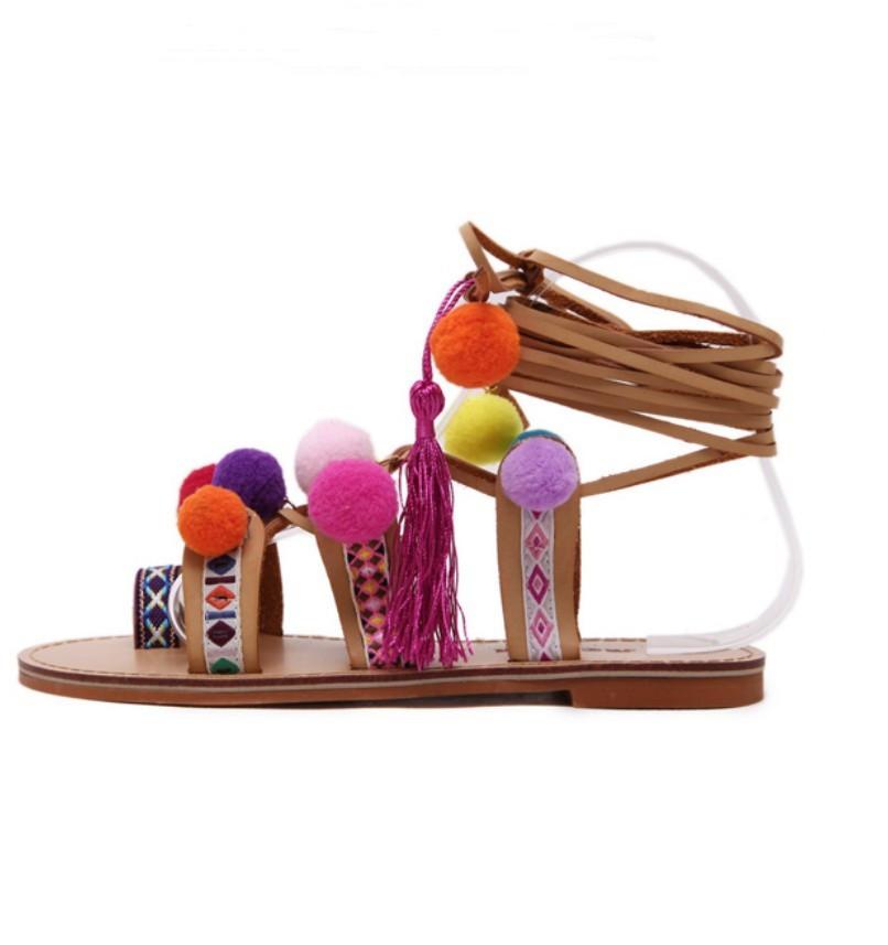 Bohemian Pompon Gladiator Sandals – Free Shipping! HTB1D4DYKpXXXXcTXFXXq6xXFXXXg
