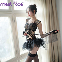 Meethope Open back sexy lingerie womens black openwork bag hip skirt open chest mesh perspective cute princess dress Y006