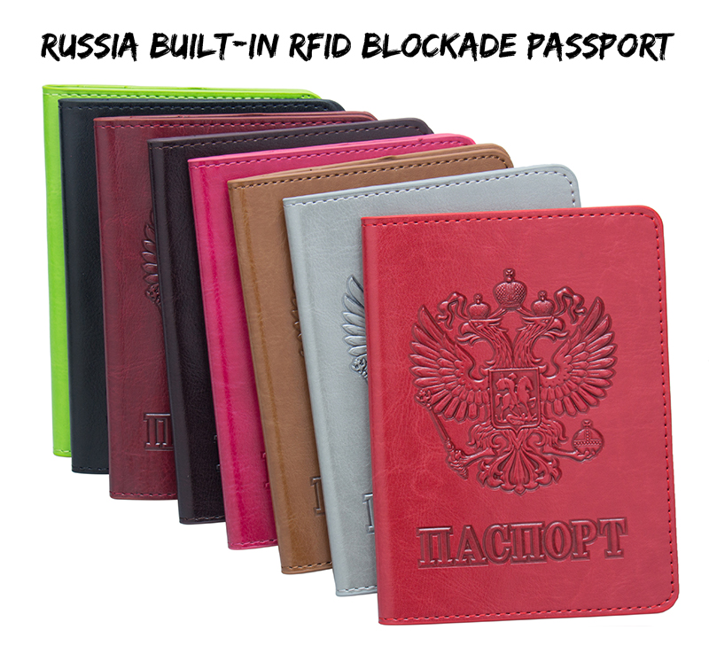 Coin Purses & Holders Russian Fashion Color Mixing Double-headed Eagle Pu Leather Passport Holder Built In Rfid Blocking Protect Personal Information