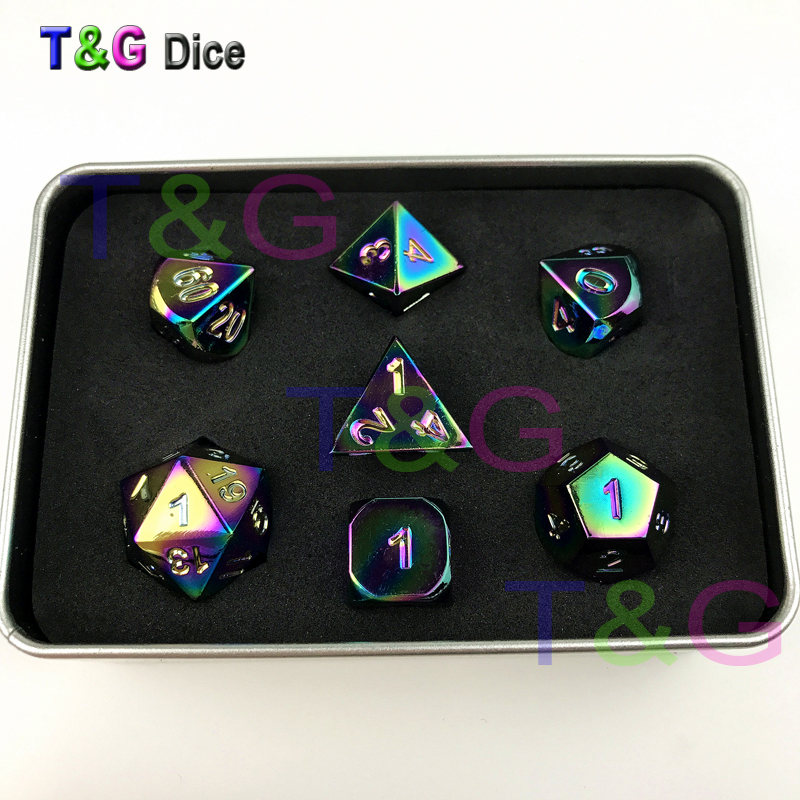Incredible New Colorful RPG/<font><b>D</b></font>&<font><b>D</b></font> Polyhedral <font><b>Metal</b></font> <font><b>Dice</b></font> Plus Iron Box for Party Game/Together with Friends image
