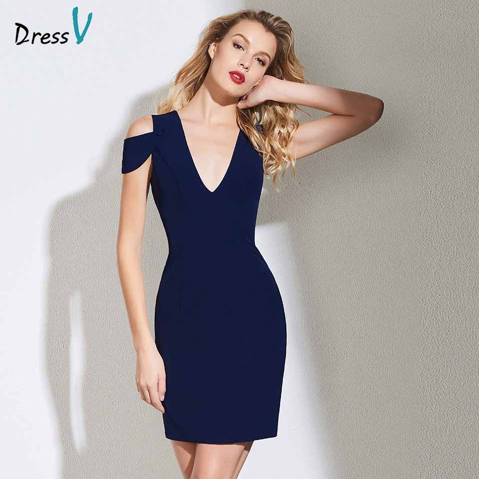 Dressv dark navy   cocktail     dress   elegant v neck sleeveless sheath zipper up wedding party formal   dress     cocktail     dresses