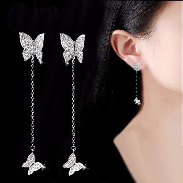 DreamySky 100% Real 925 Sterling Silver Long Zirconia Butterfly Earrings For Women Jewelry Gift Pendientes joyas de plata 925