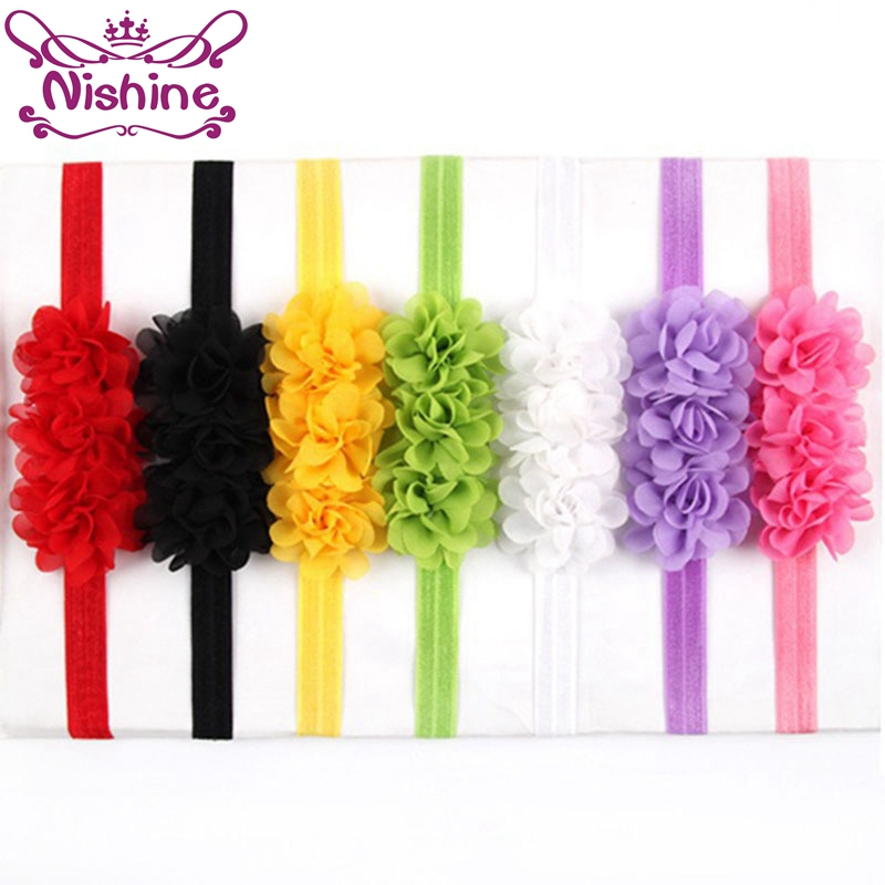 Nishine Girls Hair Accessories Kids Colorful Flower Headband Bandeau Bebe Bandeau Cute Chiffon Flower Head Band