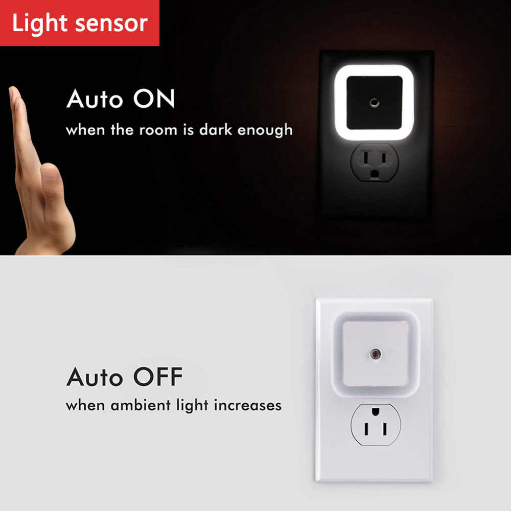 Luz Nocturna LED con Sensor de luz, lámpara de pared para baño, lámparas de noche para dormitorio, Bombilla de retroiluminación para WC, enchufe de EE. UU.