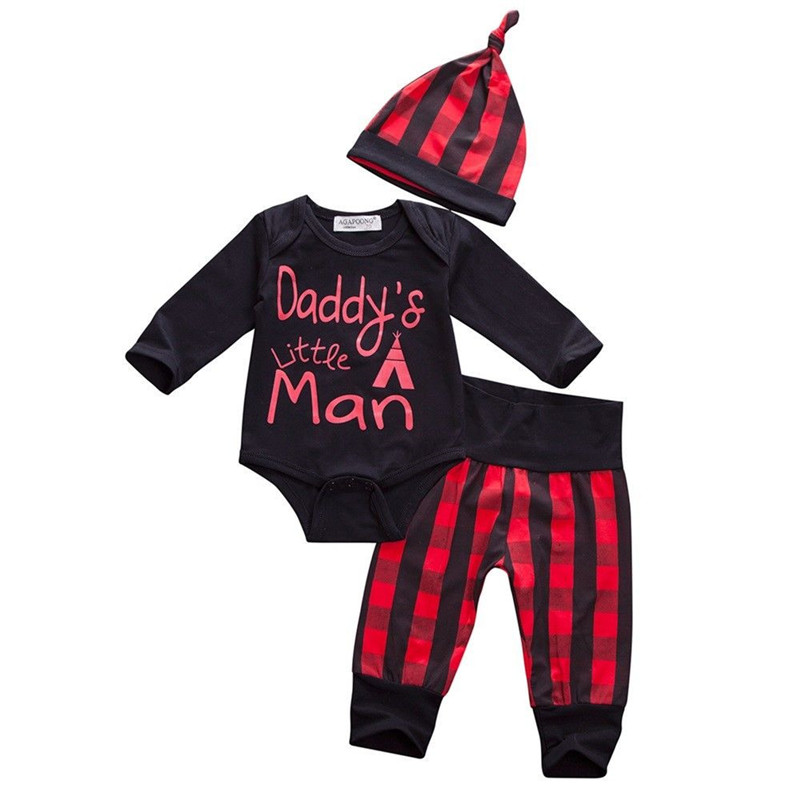 0 to 24M High Quality Newborn Infant Kids Baby Boy Girls Long Sleeve Romper Jumpsuit +Pants+Hat 3pcs Outfits Baby Clothing Set