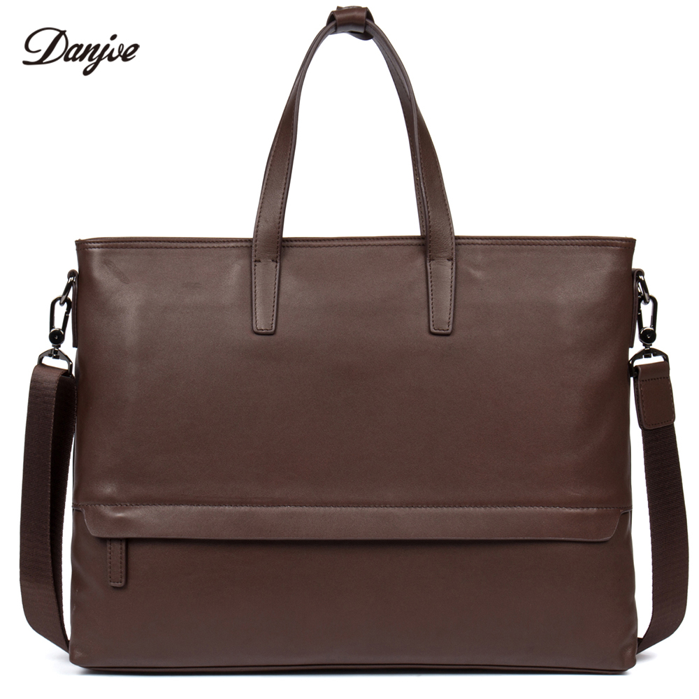 DANJUE Men Handbag Genuine Leather Male Messenger Bag Classic Business Briefcase Trendy 14inch Laptop Fashion Shoulder Bag Man wire man bag small light horizontal handbag business bag male fashion portable genuine leather briefcase