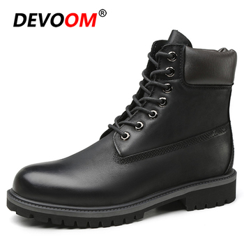 2019 Fashion Classic Men Shoes Leather Black Snow Boots Men Work Shoes Men Genuine Leather Boots Men Outdoor Fur Unisex Sneakers