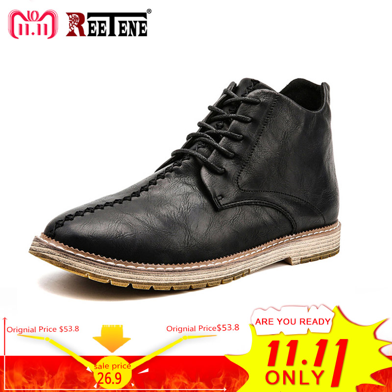 REETENE British Retro Men'S Boots Lace Up Shoes Men'S 2018 New Style Leather Casual Men Shoes Fashion Plus Size Martin Boots Men цены
