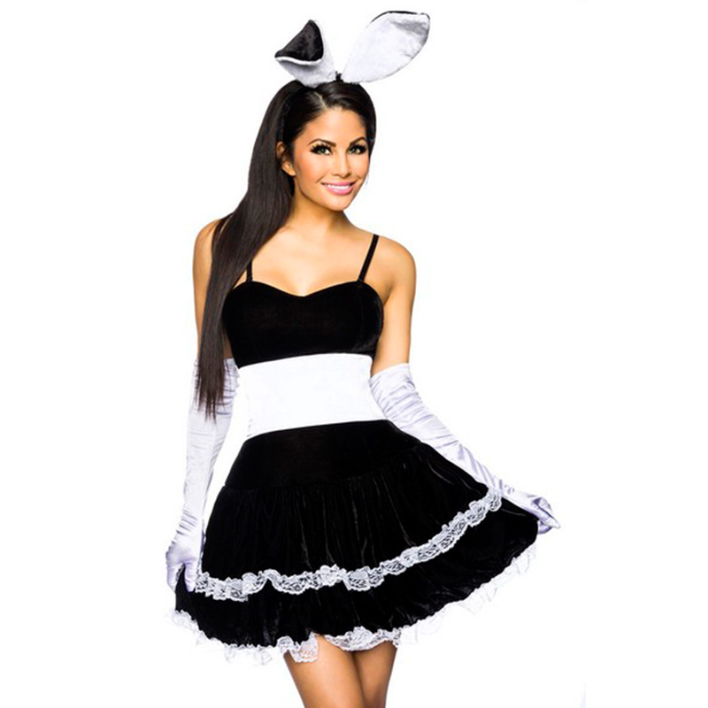 Hop Hop Black Bunny Girl Fancy Dress Costume Sexy French Maid Black Fancy Dresses Set Role Play Halloween Costume M L XL W850636