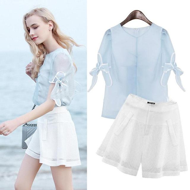 2016 Summer Large Size Women Loose O-neck Short Sleeve Elegant Organza Chiffon T-shirt Blue Soild Color