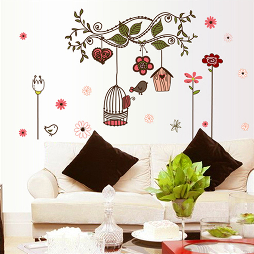 Zero 2017 bird cage wall sticker home art decor wall - Cheap wall decals for living room ...