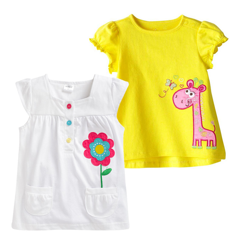 VIDMID Girls Clothes Brand T-shirt Kids Clothing Animal Pattern Girls Summer Tops Tees Cotton Children T-shirts rabbit tees vidmid brand new girl t shirt big girls tees children clothing summer clothes for girls pineapple cotton designer blouse