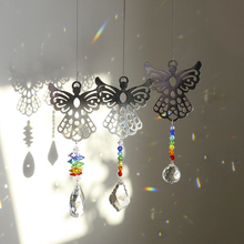 H&D Rainbow Crystal Suncatchers Hollow Angel Chakra Hanging Pendant Prism Windows Decorations Pack of 3