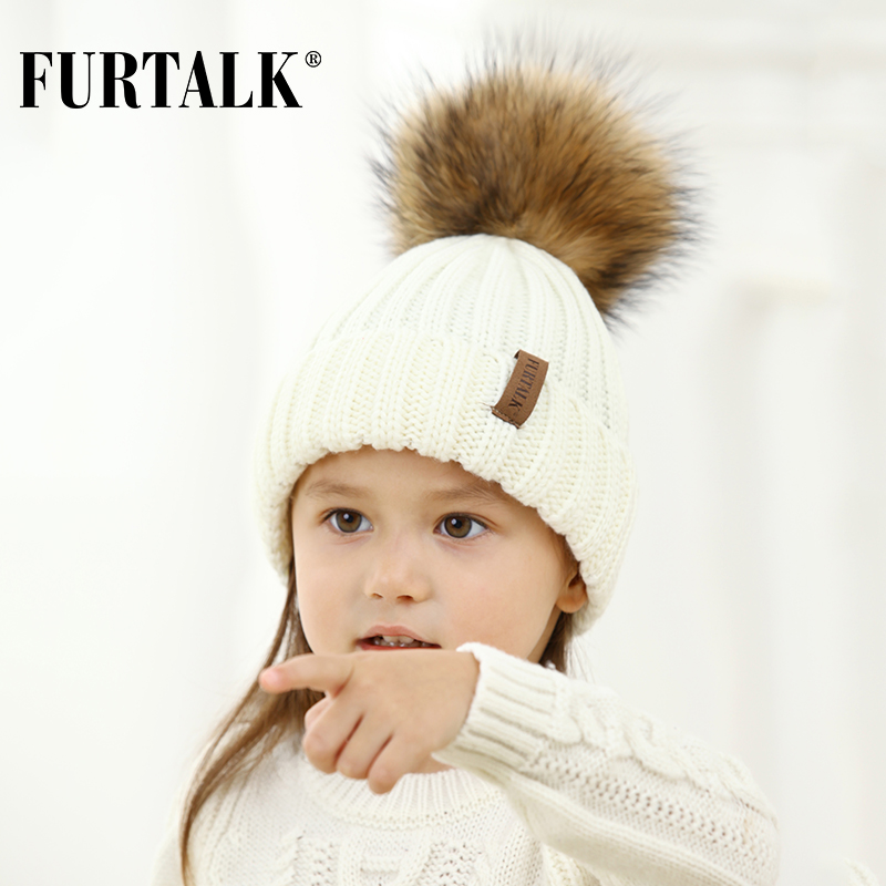 eecc647cfc75b FURTALK Unisex Kids Ages 2 7 Warm Winter Pom Pom Hat for Girls and Boys  Chunky Thick Stretchy Knit Beanie Hats-in Skullies   Beanies from Apparel  ...